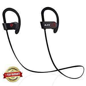 Premium Wireless Bluetooth Headphones w/ USB Car Charger by BLAYZ Sports Sweatproof Bluetooth In-Ear Earbuds with Noise Reduction Streaming Music Stereo Beats Gym Headsets with Mic for iPhone Android