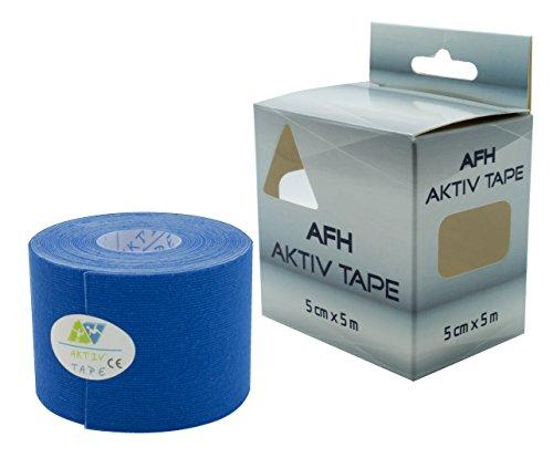 Kinesiologie Tape | Breite: 5 cm | Länge: 5 m | Aktiv Tape auf Baumwoll Basis | Farbe: königsblau