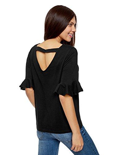 oodji Ultra Damen Baumwoll-T-Shirt mit Volant-Ärmeln Schwarz (2900N)