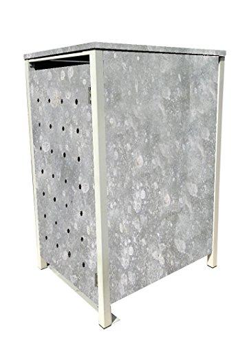 BBT@ | Hochwertige Mülltonnenbox für 3 Tonnen je 240 Liter mit Klappdeckel in Zink / Aus stabilem pulver-beschichtetem Metall / Ohne Stanzung / In verschiedenen Farben sowie mit unterschiedlichen Blech-Stanzungen erhältlich / Mülltonnenverkleidung Müllboxen Müllcontainer - 4