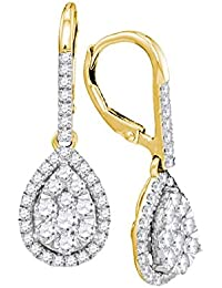 14kt Yellow Gold Womens Round Diamond Leverback Teardrop Dangle Earrings 1-3/8 Cttw (I1 clarity; H-I color)