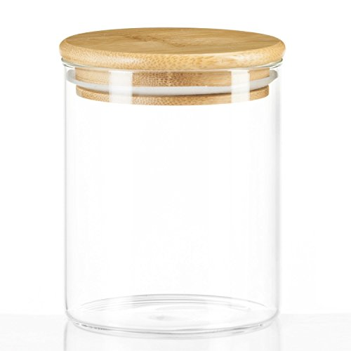 us Borosilikatglas Vorratsgläser Glas-behäler Einweck-Glas mit Bambus-Deckel - Größe S (0,5L) (Kleine Kunststoff-gläser Mit Deckel)