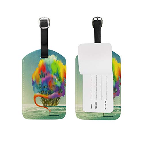 Abstract Tree Colorful Smoke Flare Luggage Tag for Baggage Suitcase Bag Travel Label Leather 1 Piece -
