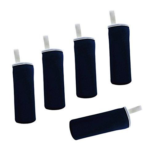 MagiDeal 5 Stück Thermo-Hülle Neopren Flaschen Hülle 0,55 L für Trinkflasche Flasche Hülle Tasche Isolier-Tasche mit Träger - Navy blau -