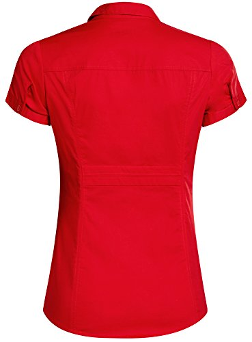 oodji Ultra Femme Chemise Col en V Rabattu Rouge (4500N)
