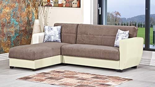 Enrico coveri contemporary divano letto 3 posti con penisola in ecopelle e tessuto con contenitore salvaspazio + 2 cuscini mod. cornery (beige/marrone)