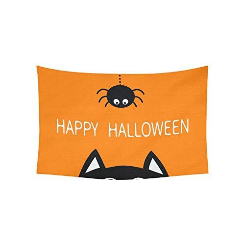 JOCHUAN Wandteppich Happy Halloween Schwarze Katze Gesicht Kopf Wandteppiche Wandbehang Blume psychedelischen Wandteppich Wandbehang indischen Wohnheim Dekor für Wohnzimmer Schlafzimmer 60 X 40 Zoll (Schwarze Katze Gesichter Halloween)