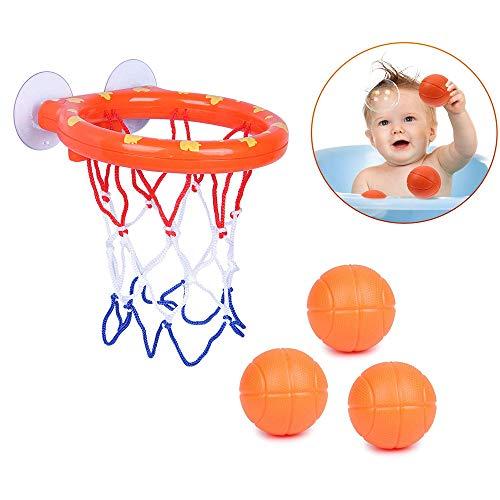Amasawa Mini Baloncesto de Baño,Canasta Baloncesto Infantil Bañera,Juego de aro de Baloncesto para Baño Juego de Disparos en la Bañera Juguetes con 3 Bolas y Ventosas para Niños, Niños Pequeños