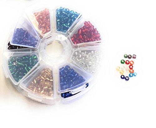 Perlas de Cristal Mix 8colores con plástico redonda caja 4MM Perlas