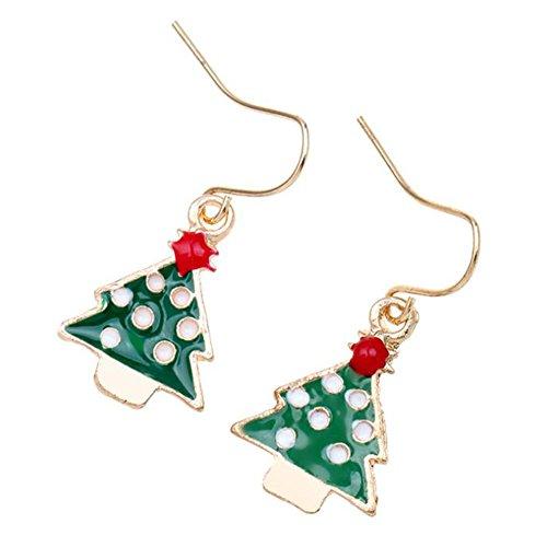 Weihnachtsbaum Kostüm Schmuck - VI. Yo Weihnachtsbaum Ohrringe Fashion Lovely Weihnachten Kostüm Schmuck Ohrringe für Frauen mit Hypoallergen Messing Haken, 1Paar
