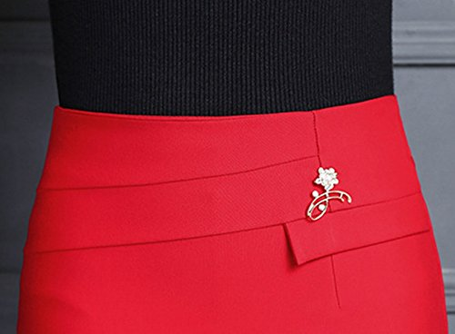 Blansdi Midi Jupe Crayon Élégante Moulant élastique Sexy Package Hanche Jupe Taille Haute Slim OL Rouge