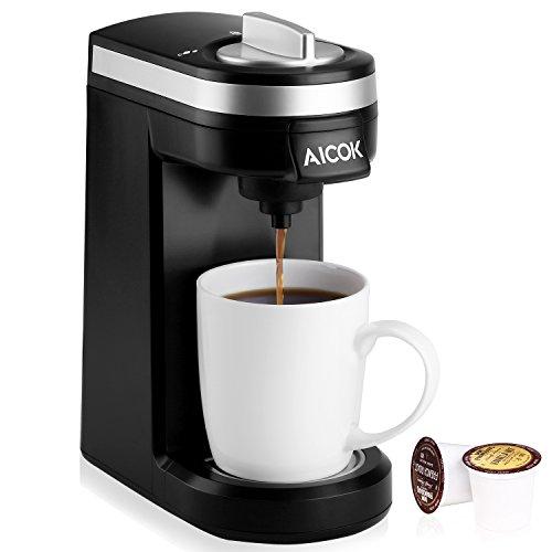 Aicok Cafetera de Cápsulas De Una Taza Maquina De Café Automática Negro