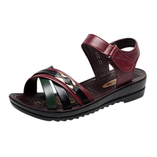 Strungten Frauen Farbabstimmung Soft Bottom Wedge Sandalen Rutschfeste Freizeitschuhe Lazy Shoes Schwangere Frauen Schuhe Strand Sandalen