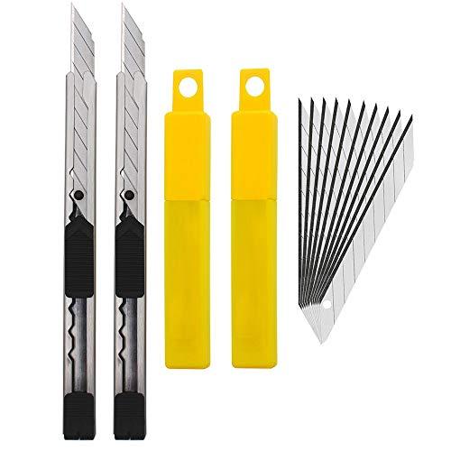 EEFUN 2pcs Edelstahl Cuttermesser mit 20pcs 9mm Abbrechklingen / 30 Grad Folienmesser/Profi Teppichmesser/Grafikmesser/ optimal für Folien,Tapete, Bastelarbeiten, Kartons