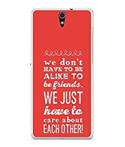 Fuson Designer Back Case Cover for Sony Xperia C5 Ultra Dual :: Sony Xperia C5 E5533 E5563 (Care Each Other Friends Boy Girl College Student)
