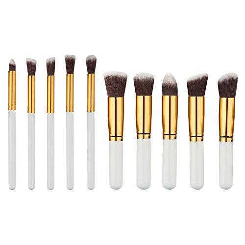 Kit de 10 Pinceaux Maquillage+1pc Etui Toile à Yeux et Visage Brosse Cosmétique - Blanc Or