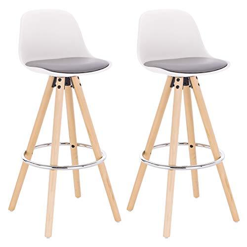 WOLTU® BH45grw-2 2 x Barhocker 2er Set Barstuhl aus Kunstleder Holzgestell mit Lehne + Fußstütze Design Stuhl Küchenstuhl optimal Komfort Grau+Weiß