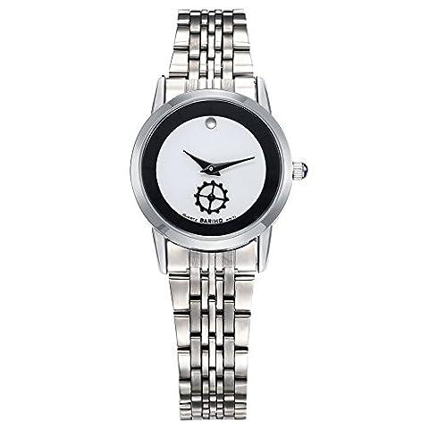 Hongboom véritable de bracelet en acier inoxydable montre bracelet étanche à 30m pour femme décontracté Business Quartz Analogique
