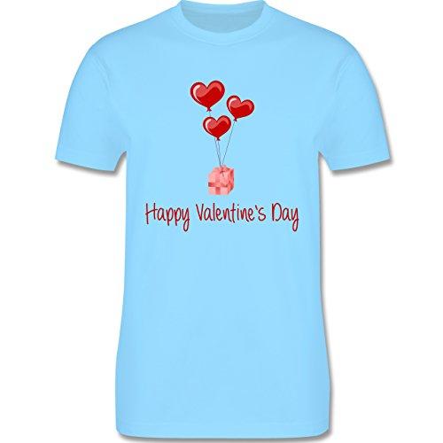 Valentinstag - Happy Valentine's Day Geschenk Herz Luftballon - Herren Premium T-Shirt Hellblau
