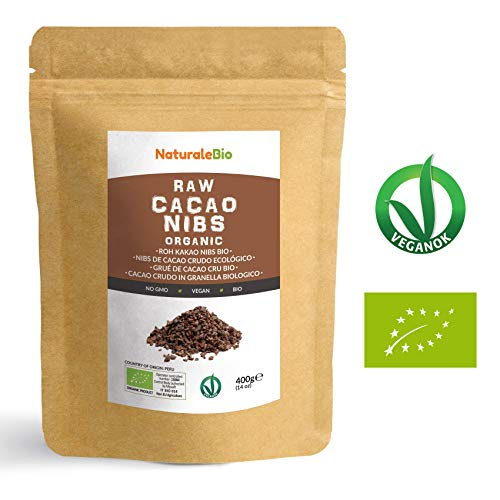 Nibs de Cacao Crudo Ecológico 400 g | 100% Puntas de Cacao Bio, Natural y Puro | Cultivado en Perú a partir de la planta Theobroma cacao | Rico en antioxidantes, minerales y vitaminas | NATURALEBIO