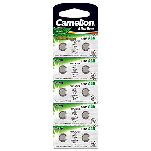Camelion Knopfzelle, Uhrenbatterie LR69 / AG6 / G6 / LR921 0% HG 10er Blister, Alkaline, 1,5V
