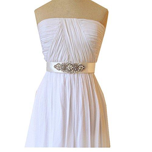 TRLYC Elfenbeinfarbener Hochzeitsgürtel, Brautschmuck, Gürtel für Hochzeitskleid mit Strass-Applikation silver ribbon