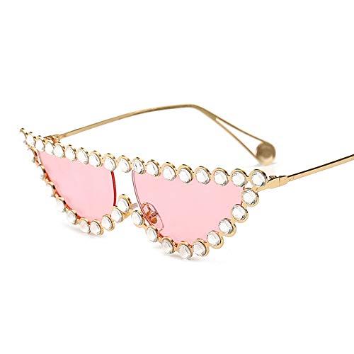 HUWAIYUNDONG Sonnenbrillen,Kleine Katze Auge Frauen Sonnenbrille Retro Strass Kristall Kleine Perle Carter SonnenbrilleGold-Pink