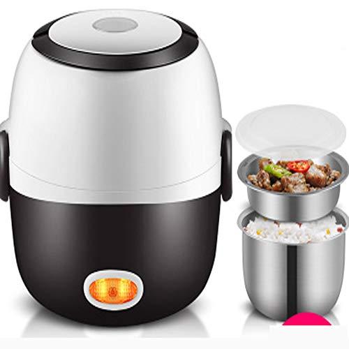 YDM Mini Elektrischer Reiskocher Edelstahl 2 Schichten Dampfer Tragbare Mahlzeit Thermal Heizung Lunchbox Nahrungsmittelbehälter-Wärmer -