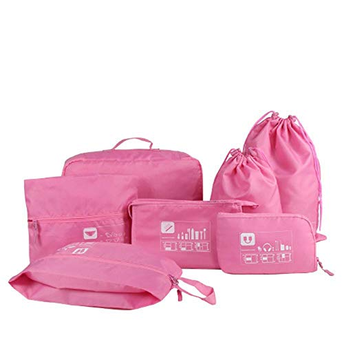 Wert 7er Set Packwürfel Verpackungswürfel, Packtaschen Kleidertaschen Set Packing Cubes Kofferorganizer Aufbewahrungstasche Travel Bag Ideal für Rucksack-Trips, Geschäftsreisen (Pink)