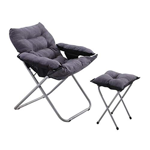 Klappstühle Verstellbare Höhe Liegestuhl Zurücklehnen Schlafzimmer Komfortsitz Sonnenliege Liege CJC (Color : Lounge Chair+Footstool) -