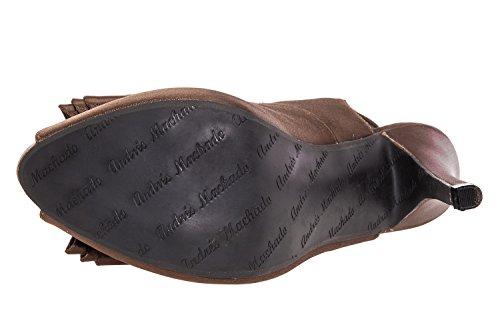 AM590 - Andres Machado - Peeptoe-Sandalen in Soft Weiss Schleife Raso Braun