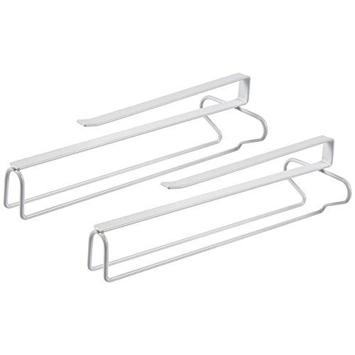 Soporte de cristal – 2 unidades de estante para copas de vino, organizador para debajo del armario, para colgar copas de vino, alambre de hierro blanco, 30 x 12 x 4,75 x 3,75 pulgadas