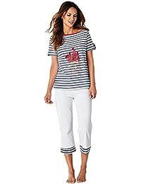 58ac3826f Pijama Camiseta de Escote Barco con Vivo a Contraste Mujer by VencaSty -  012893