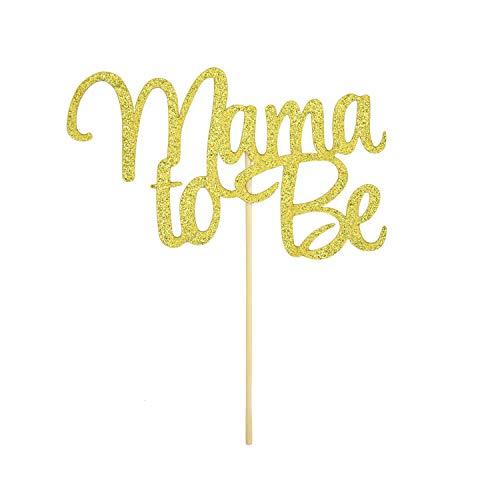 Oblique Unique® Torten Kuchen Topper Aufsatz Mama to Be für Baby Shower Baby Party Deko - Gold mit Glitzereffekt Muffin Cupcake Dekoration