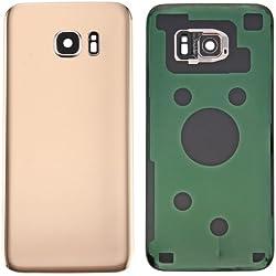ALSATEK Remplacement Coque Arrière Origine avec lentille de caméra pour Samsung Galaxy S7 Edge/G935 Doré