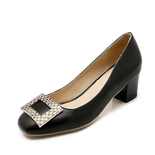 AgooLar Femme Carré Tire Pu Cuir Couleur Unie à Talon Correct Chaussures Légeres Noir