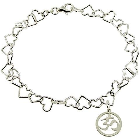Maciza de 925 plata de ley para mujer 17,78 cm pulgada (cm 17,8) Luz del enlace pulsera Om Aum Ohm encanto de Yoga hindú en caja de