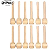 "Sohapy 24 Pack 3.1"" Mini Wooden Honey Dipper Sticks Spoon for Server for Honey Jar Dispense Drizzle Honey,Party, Wedding Favors"