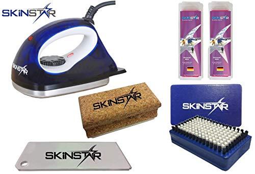 SkinStar Starter Ski Wachs Set, Wachsbügeleisen Bürste Wachs 5-teilig