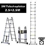 Rendio 5M Alu Teleskopleiter Klappleiter Ausziehleiter Mehrzweckleiter...