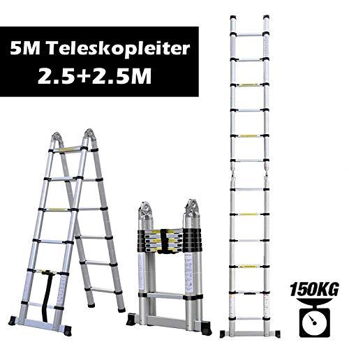 Rendio 5M Alu Teleskopleiter Klappleiter Ausziehleiter Mehrzweckleiter Anlegeleiter aus hochwertigem Alu Teleskop-Design 150 kg Belastbarkeit, 8X8 Sprossen