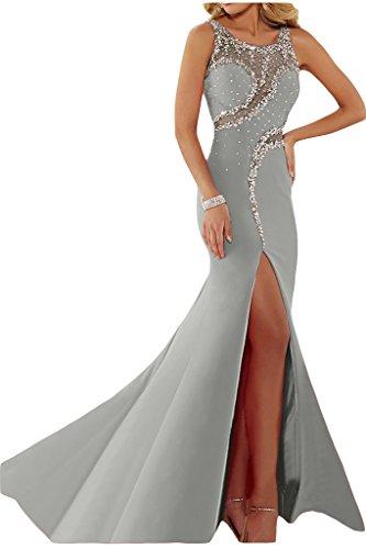ivyd ressing Femme luxurioes fente col rond pierres Party robe Lave-vaisselle robe robe du soir Silber