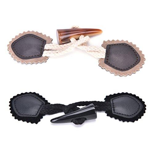 Kaffee Kleidungsstück (Bingpong 5 stücke 15,5 cm Pu-Leder Sonnenblume ox Horn knöpfe Toggle Mantel Taste für DIY kleidungsstück nähzubehör (Kaffee))