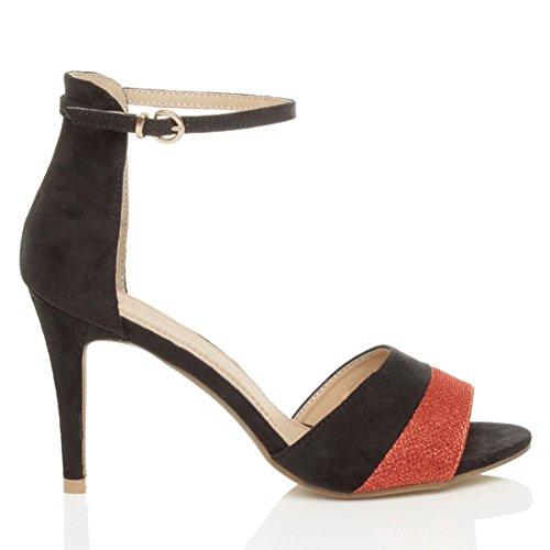 Damen Mittler Hohen Absatz Kontrast Zweifarbig Knöchelriemen-Sandalen Schuhe Größe Rot Glitzerstaub