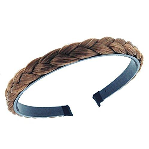 Diadema en forma de trenza para el pelo, hecha a mano, de color marrón claro, para mujer