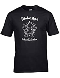 Ice-Tees MOTORSHED- Rakes and Spades- Classic Heavy Metal shed Loving Spoof Men's T-Shirt from