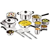 BMS Lifestyle 15-Piece Induction Friendly Stainless Steel Cookware Set, Silver
