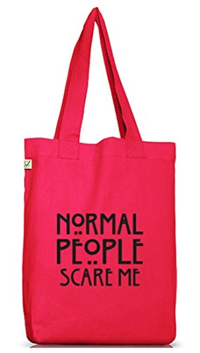 Shirtstreet24, AHS - Normal People Scare Me, Jutebeutel Stoff Tasche Earth Positive (ONE SIZE) Hot Pink