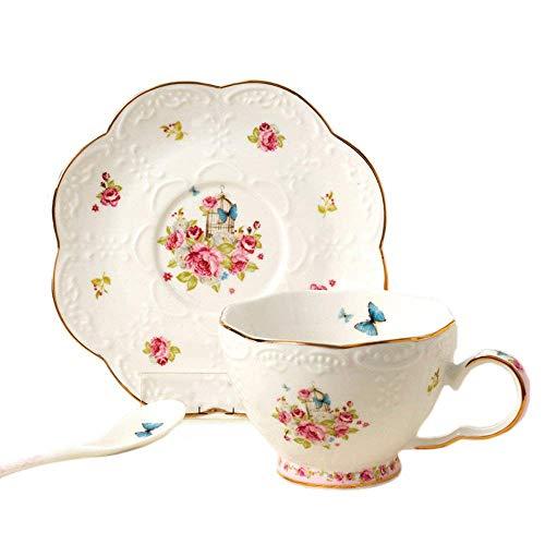 Weinlese Rose Prägte Kaffeetasse, Blauer Schmetterlings Malerei Goldener Rand Bone China Kaffeetasse Tee Tasse Mit Untertasse, Für Geschenk Und Haushalts,Büro 220Ml (Blau China Tasse Und Untertasse)