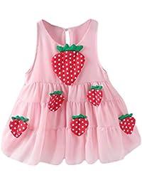 OPAKY Ropa de Vestir de Princesa Informal para Bebés Recién Nacidos Niñas Fresas Vestido sin Mangas